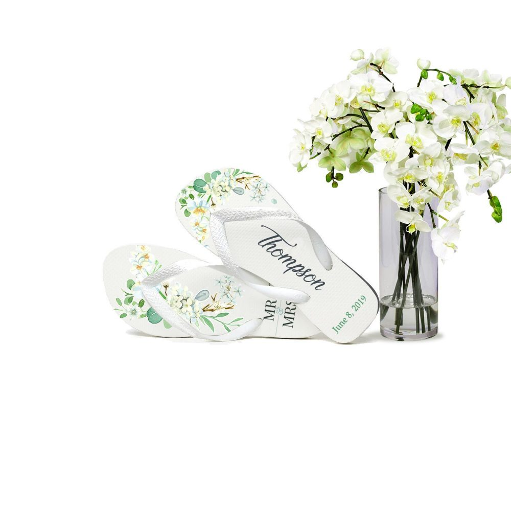 Custom Wedding Flip Flops, Bride Flops For Guests, Mr & Mrs, Party, Gifts Favors, Floral Orchid