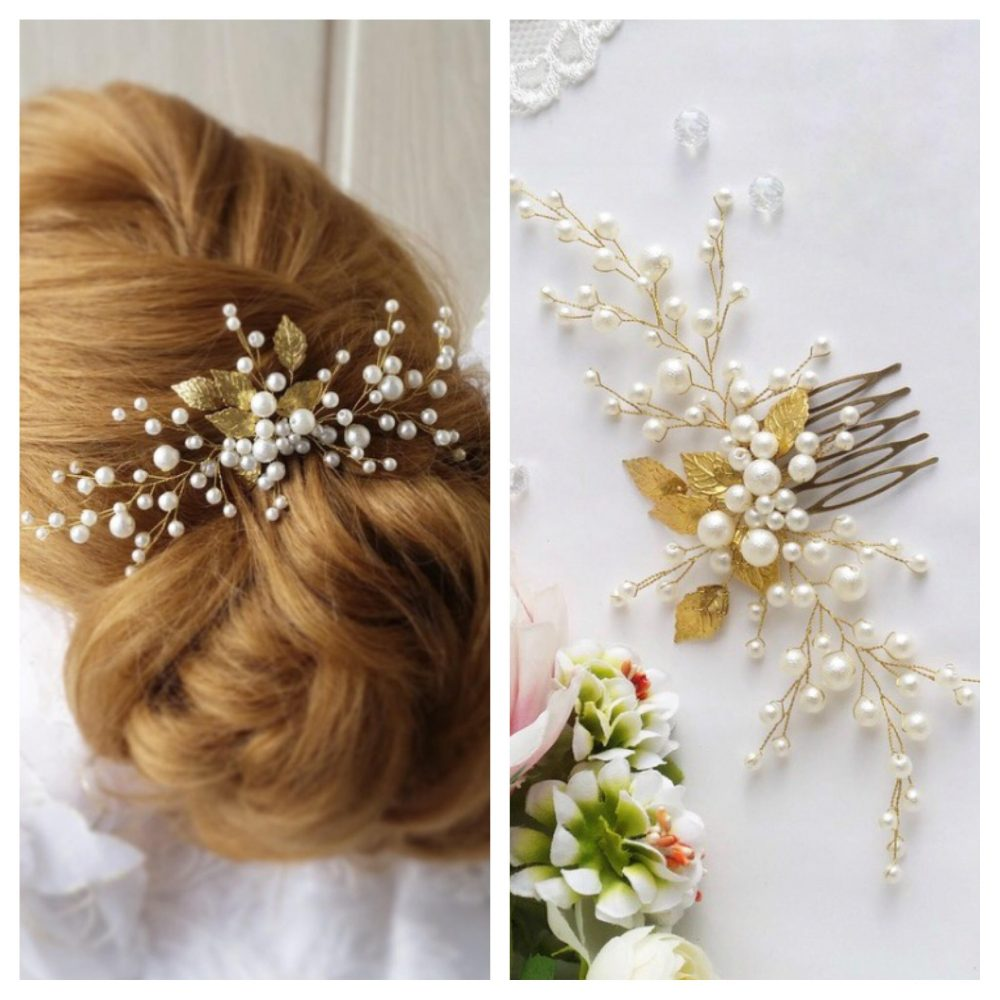Gold Leaf Bridal Hair Comb Rose Gold Bridal Piece Wedding Clip Tiara Leaf Headpiece Pearl Hair Comb Crown Accessory