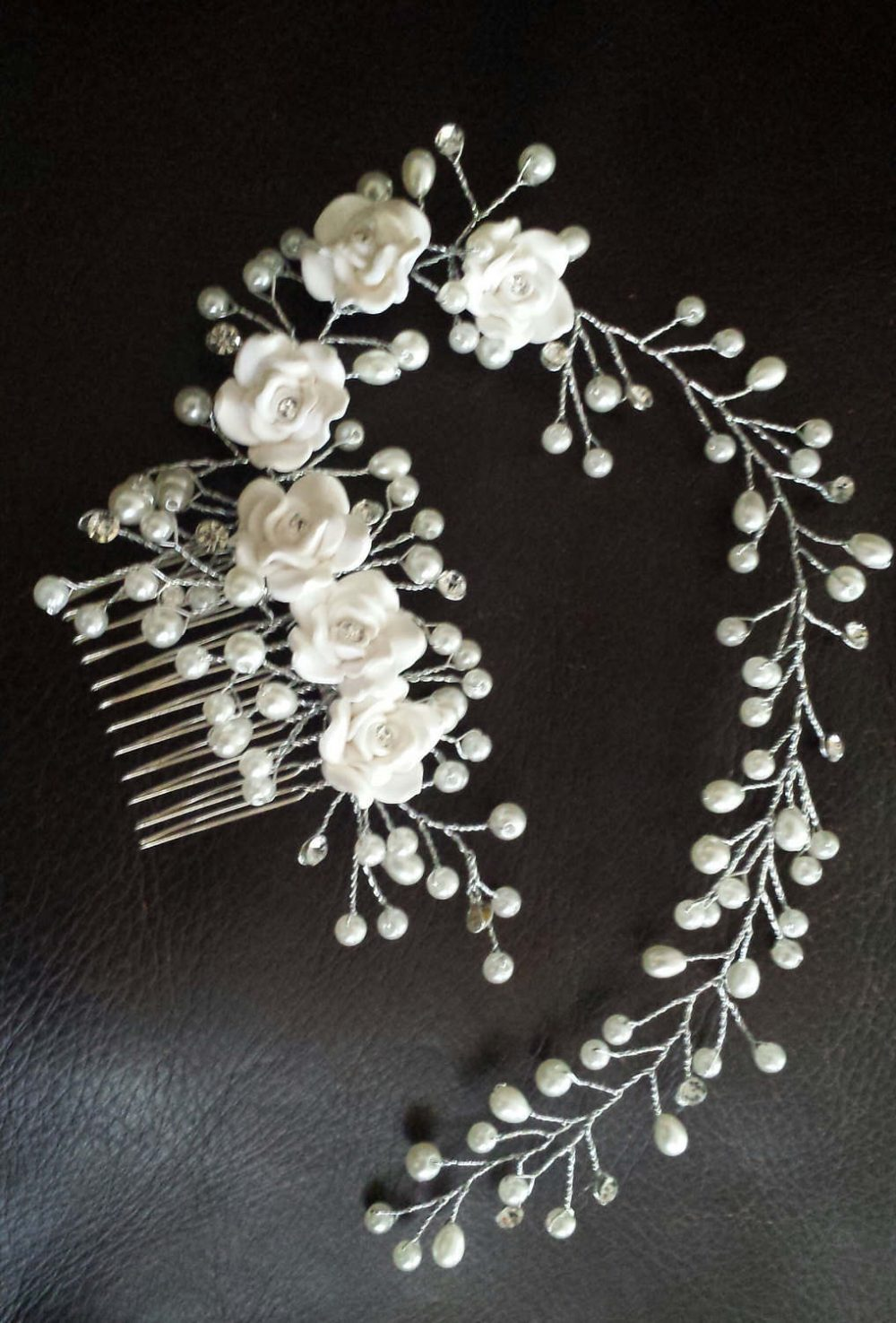 Ivory Pearl Comb Bridal Hairpins Wedding Combs Tiaras Hair Flower Accessories Clips