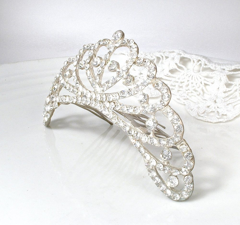 Antique Bridal Hair Comb Tiara, Rhinestone Fan 1920S Hairpiece, Art Deco Piece Vintage Wedding Headpiece Downton Flapper Bride 1930S