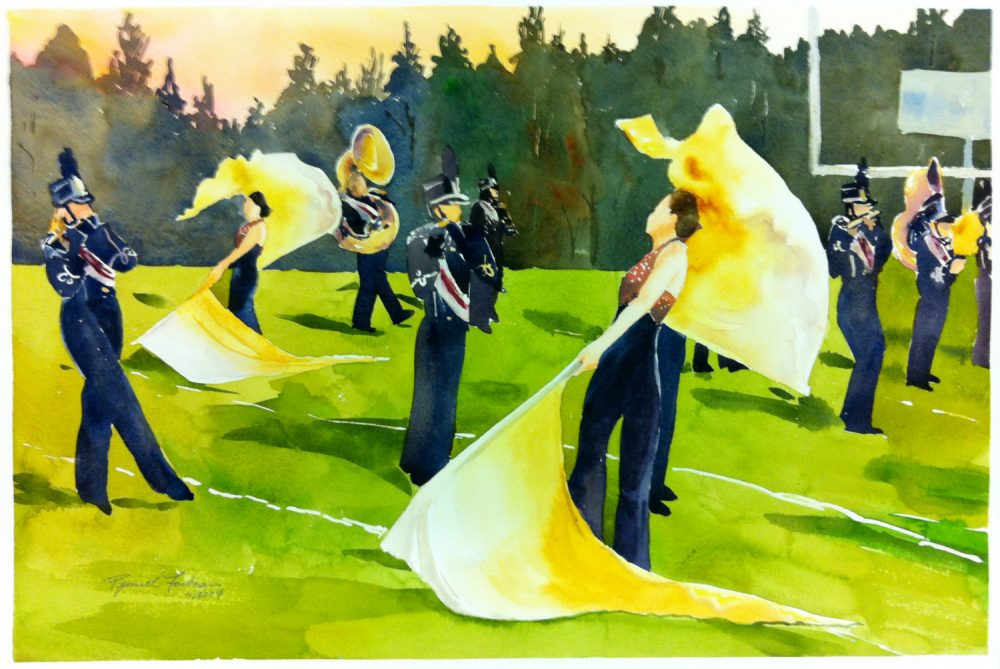 Marching Band Color Guard Flag Corp Original Watercolor Large Painting Watercolour Golden Flags Blue Green Gold Colors School Sunset