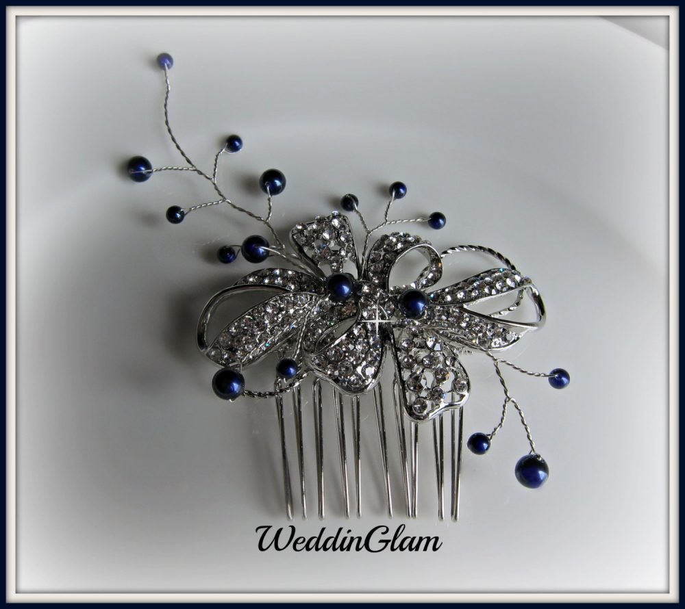 Wedding Hair Accessories, Midnight Blue Wedding Comb Tiara, Navy Pearls Rhinestone Comb, Vintage Inspired Mother Of The Bride