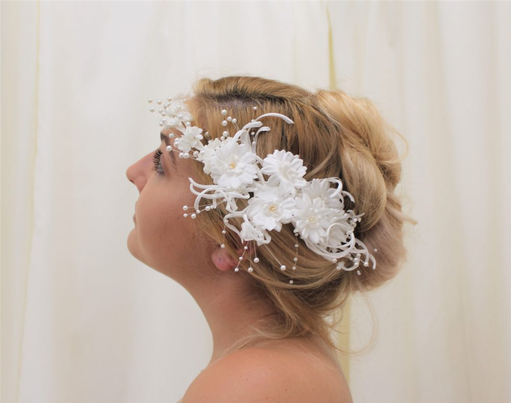 Wedding Crown Tiara Halo, Vintage Large Floral Decorative Bridal Headpiece/Hairpiece with Hanging Pearl Sprays, Bun Comb, Tiara, Wreath