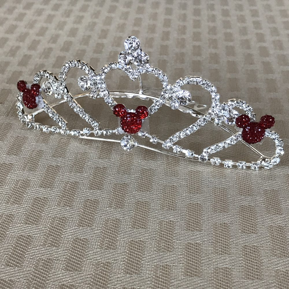 Red Hidden Mickey-Disney Wedding Comb-Mini Heart Tiara-Crystal Rhinestones-Silver Tone Setting-Clear Jeweled-Valentine's Day Gift