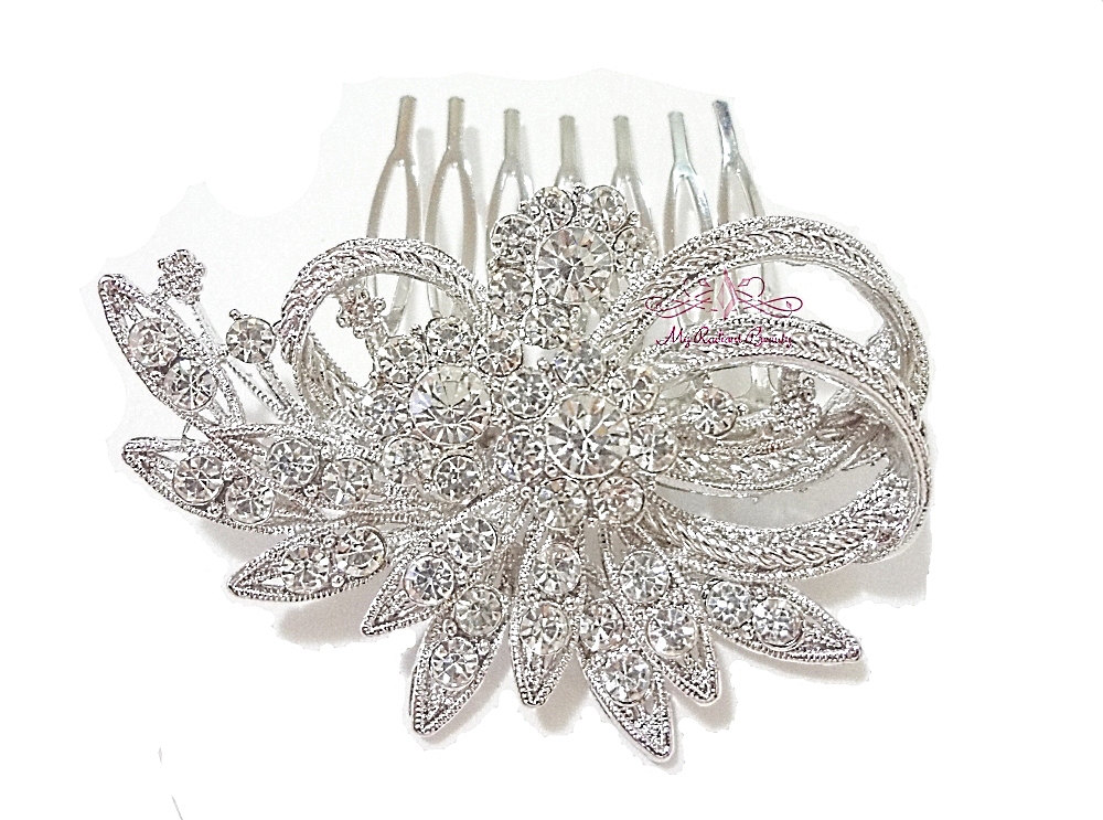 Flower Leaf Hair Comb Tiara Austrian Rhinestone Crystal, Bridal Comb, My Radiant Beauty Hc0009