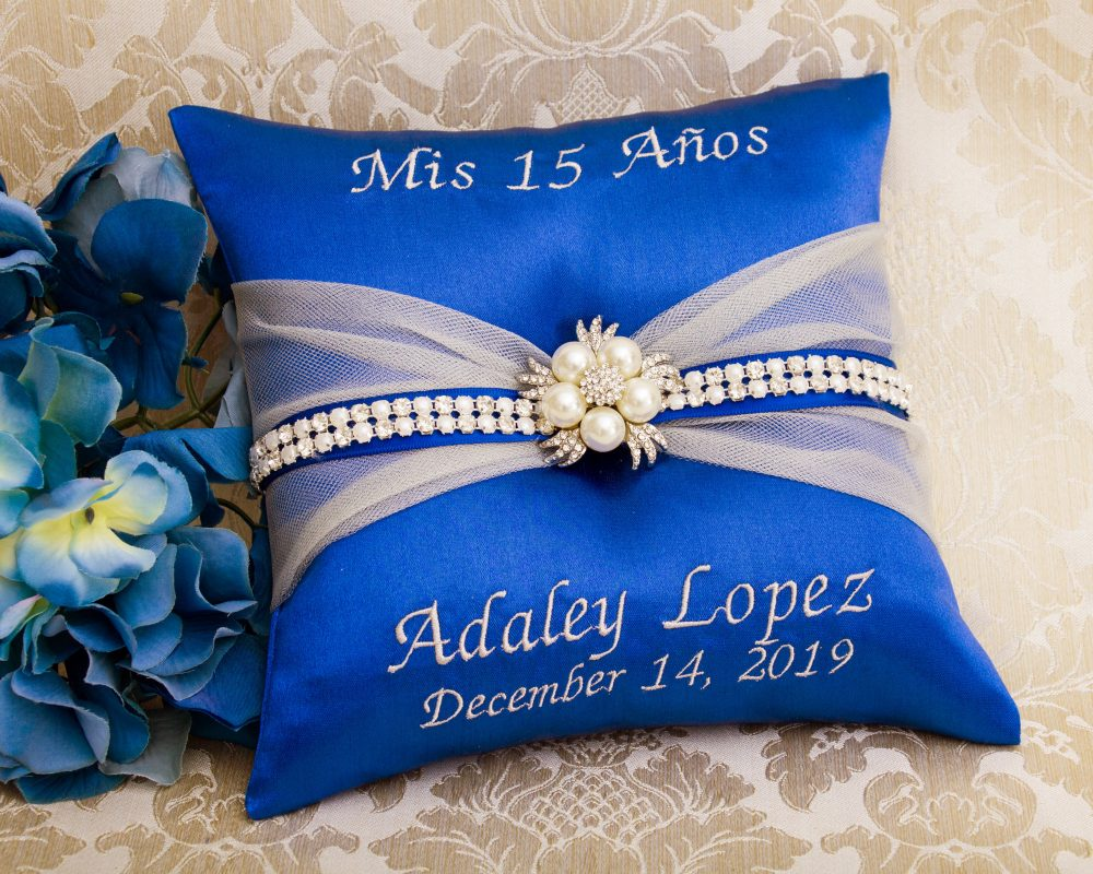 Personalized Tiara Pillow, Embroidered Quinceanera Blue Quince My Sweet 16 Kneeling Mis 15 Anos