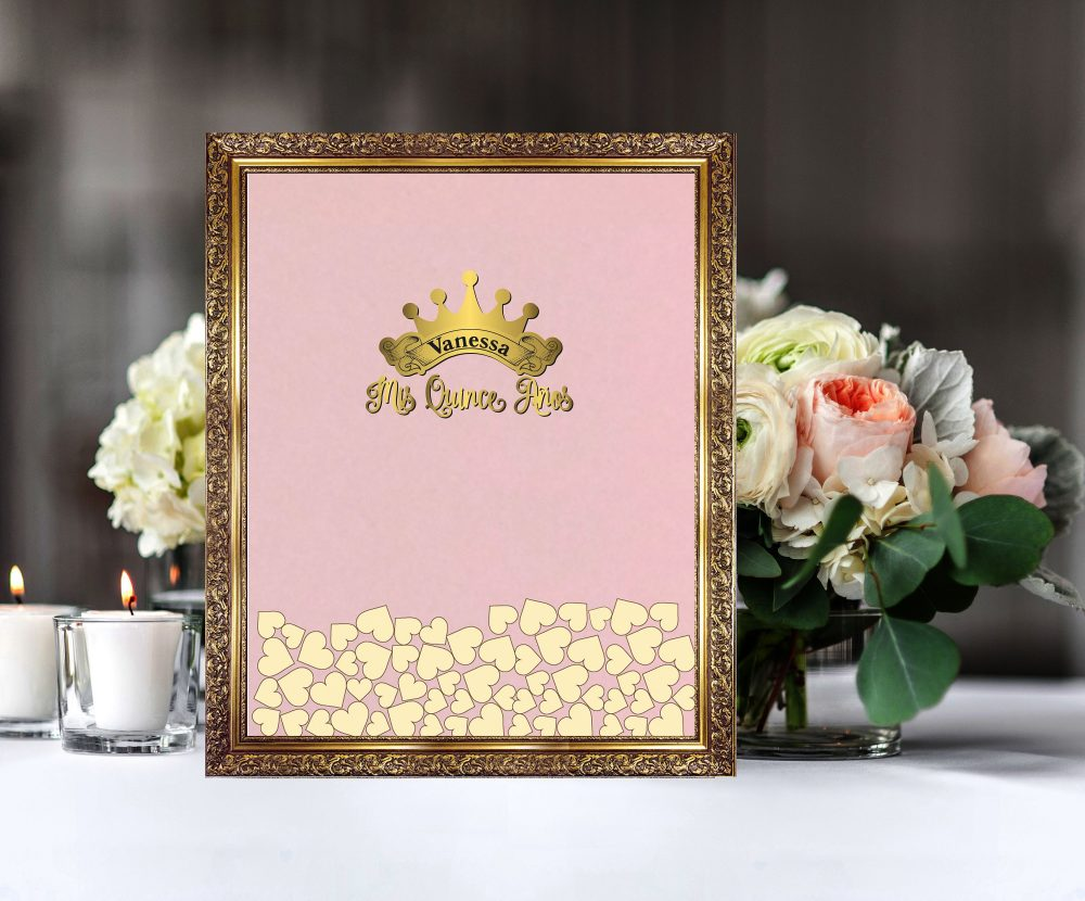 Mis Quince Anos Guest Book With Tiara, Crown, Quinceanera, Sweet Xv, Sixteen, Unique Guest Book Idea, Heart Drop Box