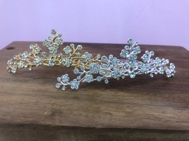 Vintage Cherry Blossom Hair Comb, Tiara, With Rhinestone Detail, Comes in Gold Or Silver Wedding, Prom, Sweet 16, Quinceanera, Bridal