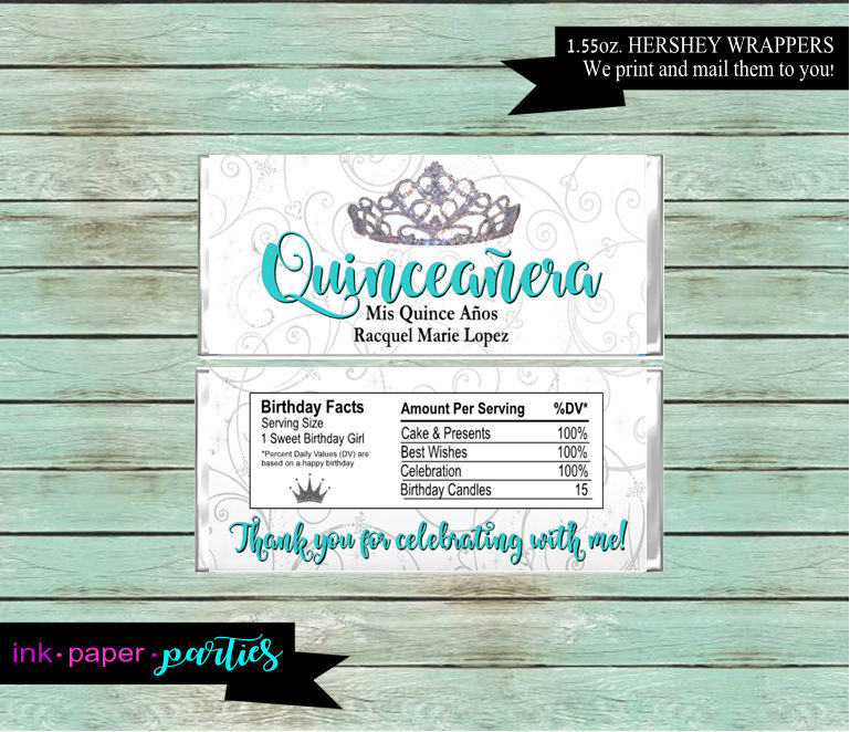 Quinceanera Mis Quince Anos 15Th Birthday Princess Tiara Crown Party Candy Wrappers Favors Personalized Custom ~ We Print & Mail To You