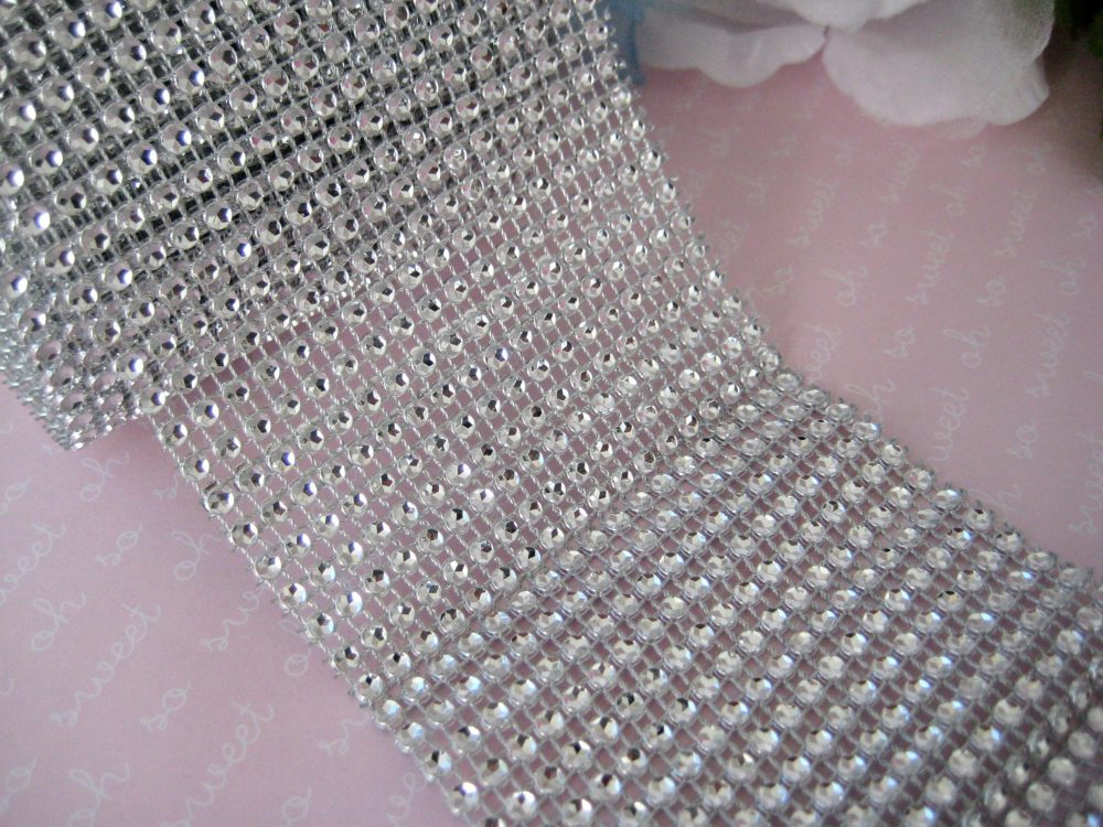 "3.5"" Silver Diamond Mesh Wrap Ribbon For Wedding, Vases, Centerpieces, Cake Stands, Sweet 16, Quinceanera, Wide, 5 Yards"