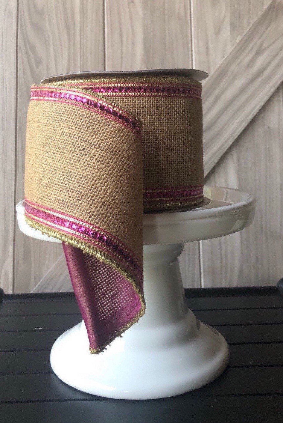 10 Yards, 4 Inch Wired Ribbon, Burlap Hot Pink Wire Jeweled Ribbon