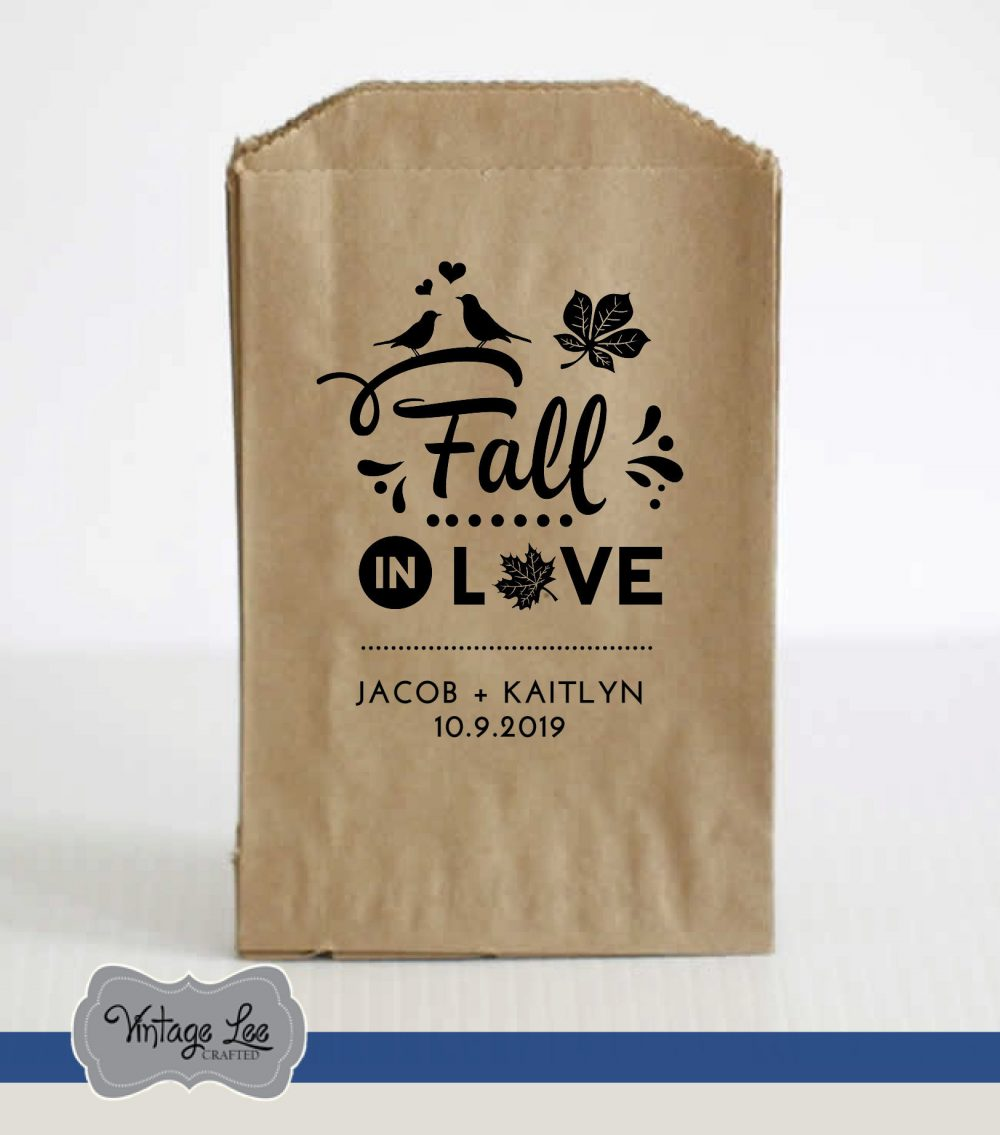 Fall Wedding Favor Bags, Favors For Fall, in Love Favors, Leaves Autumn Bags