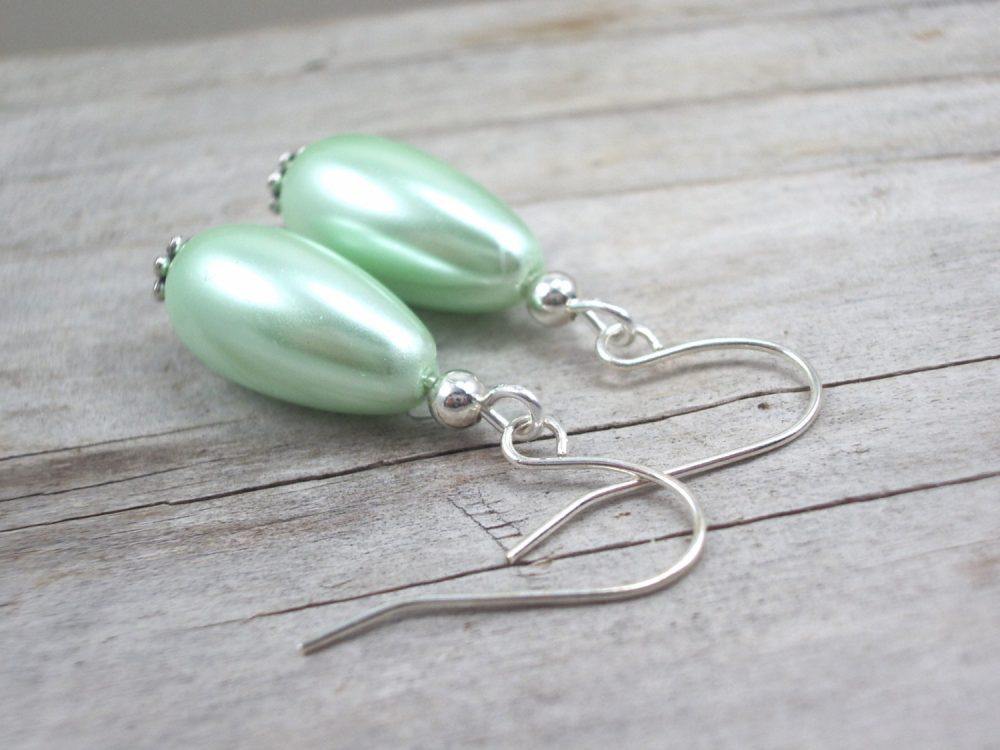 Mint Green Pearl Earrings Glass Drop Jewelry Wedding Bridesmaid