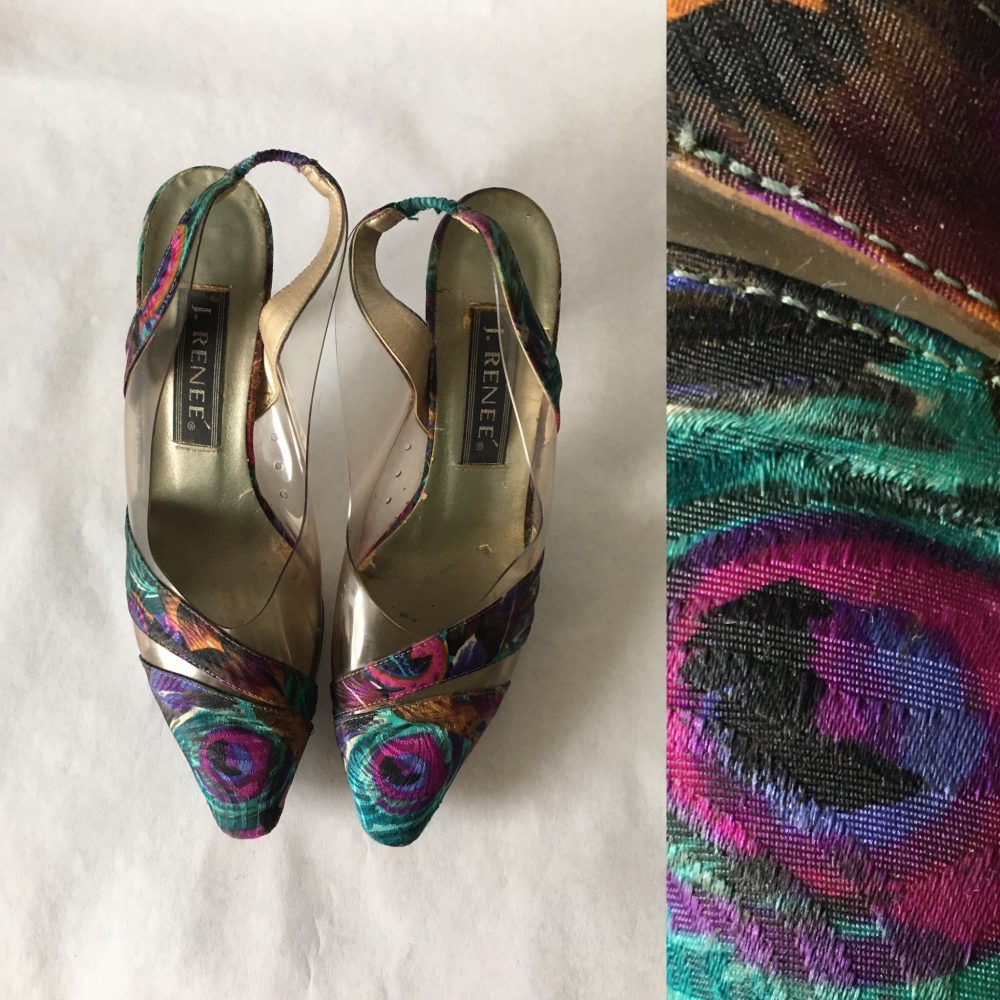 Vintage J Renee, 1980S Size 8 Slingbacks, 1980S Fabric & Plastic Shoes, 1980S Heels, Vintage Shoes With Clear