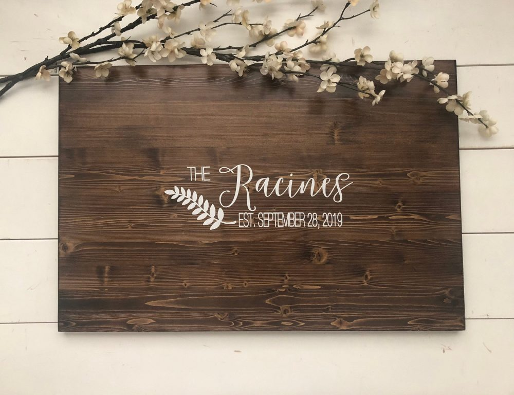 Rustic Wedding Guest Book Alternative /Laurel Name Design/ Decor Wood Sign Country Gift Guestbook