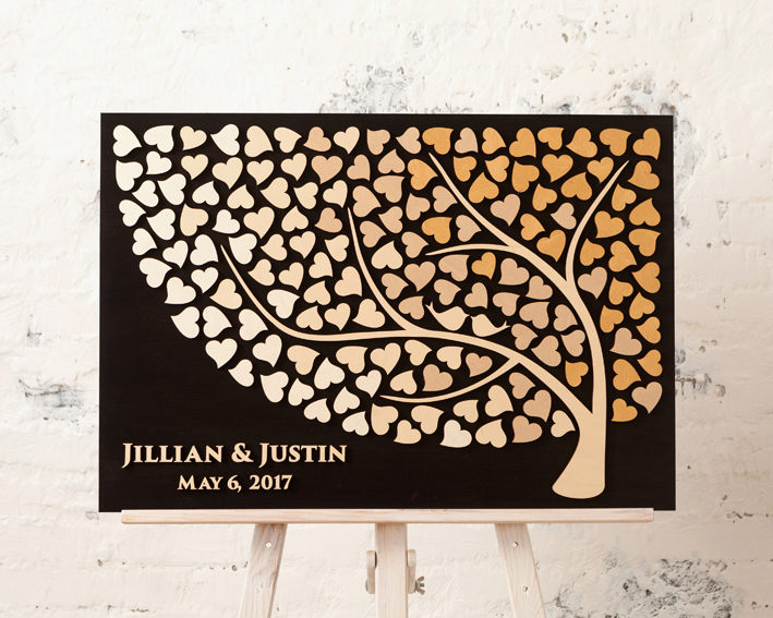Wedding Guest Book Wood Sign Guestbook Alternative 3D Beige Wedding Tree Of Hearts Rustic