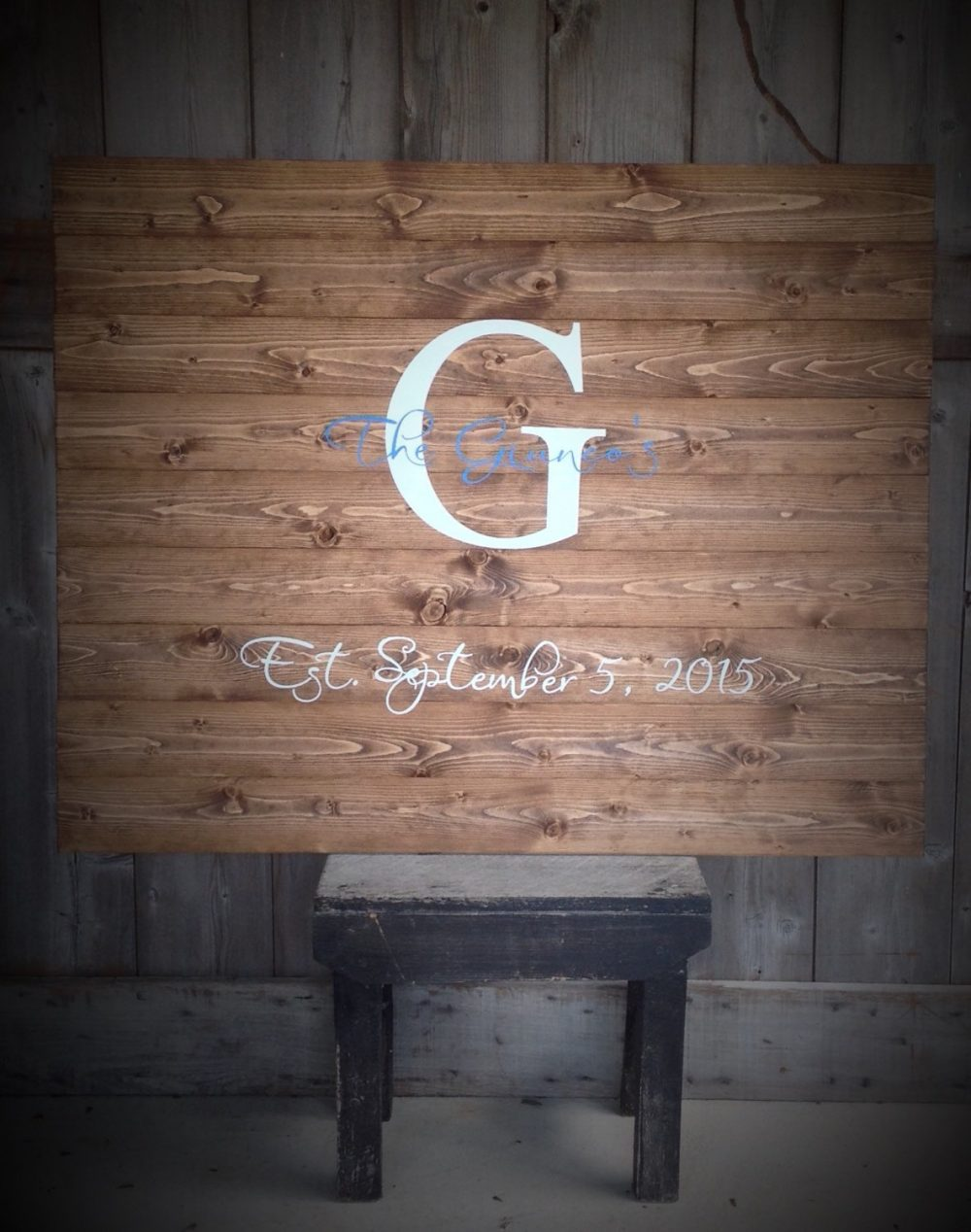 Wedding Guest Book, Wood Sign, Established Last Name Rustic Decor, Wedding, Initial & Date, 1 Custom Color