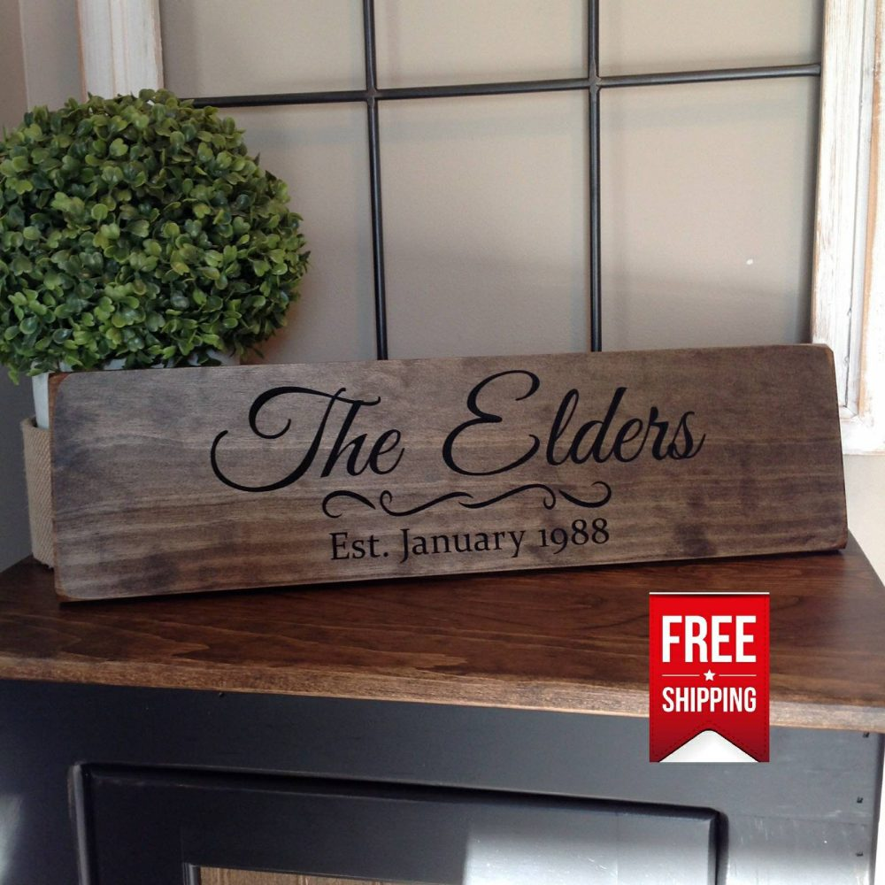Personalized Wedding Gift, Engraved Wood Sign, Rustic Decor, Name Housewarming Custom Sign