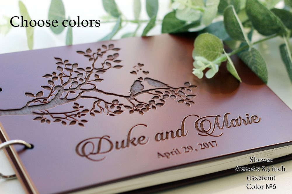Custom Guest Book Wedding Rustic Guestbook Wood Book Engraved Personalized #10