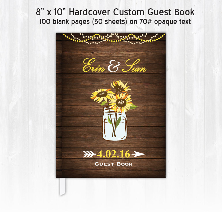 Sunflower Wedding Guest Book Custom Personalized Wood Guestbook Rustic Country