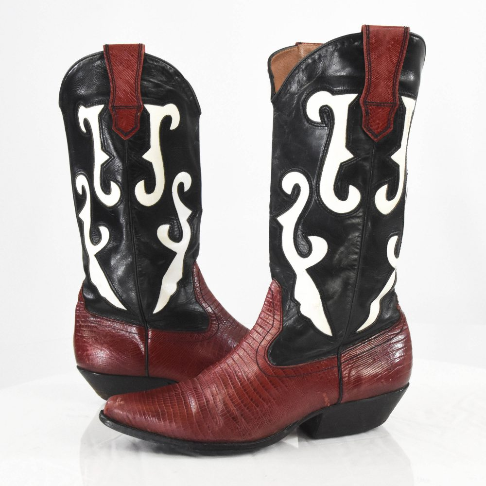 90's Vintage Women's 7.5 Rockabilly Cowboy Boots + Nine West Embroidered