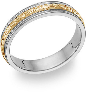 Paisley Wedding Band in 18K Two-Tone Gold