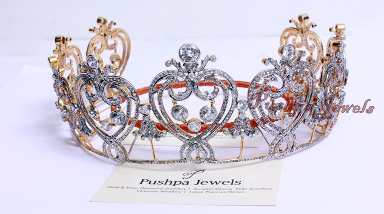 Royal Tiara Of Manchester Based Natural Rose Cut Diamond & Cubic Zircon Sterling Silver Wedding Head Band Hair Accessory