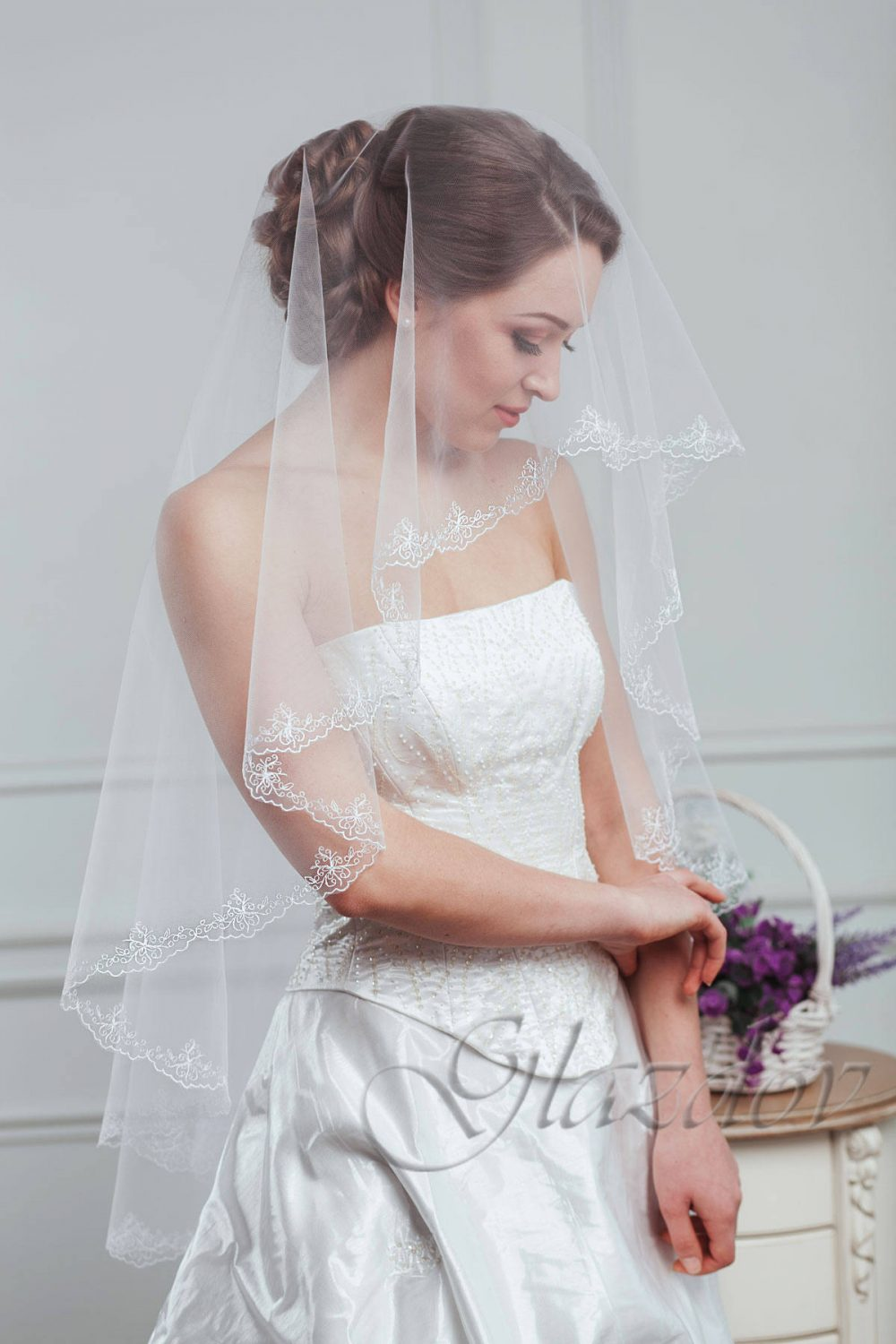 Embroidered White Wedding Veil