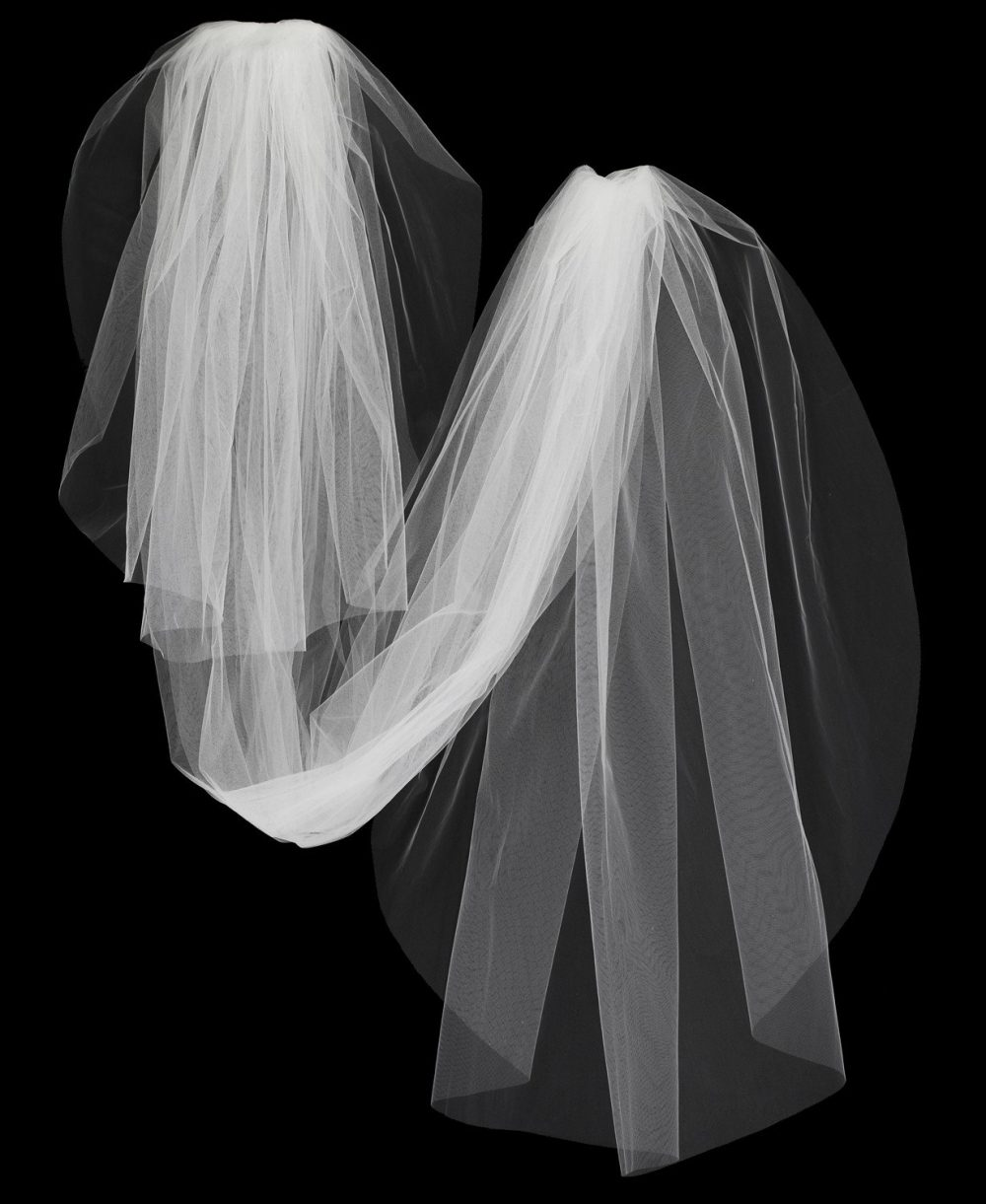 Plain Cut Edge Two Layer Chapel, Cathedral, Royal Or Regal Cathedral Wedding Veil - Specialty Tulle Colors Free Samples