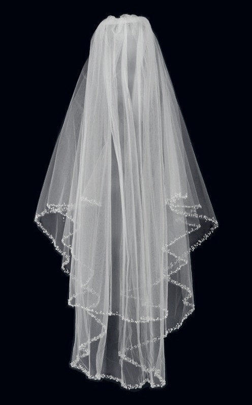 Two Layer Beaded Pearl & Rhinestone Edge Wedding Veil in Fingertip Length - Free Tulle Samples
