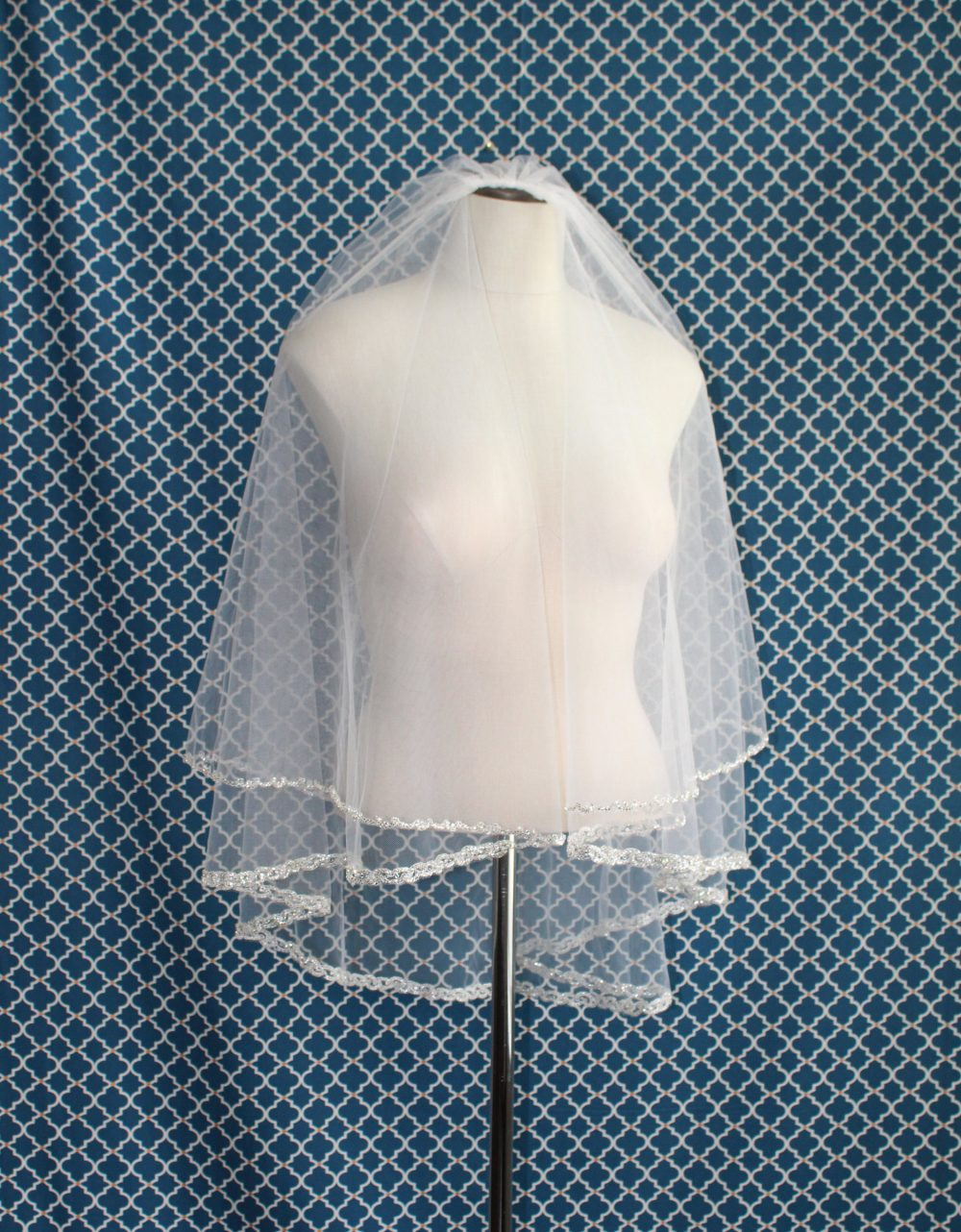 Circle Cut - Two Tier Bugle Beaded Edge Wedding Veil W/Silver Accents Veils With Silver Beads