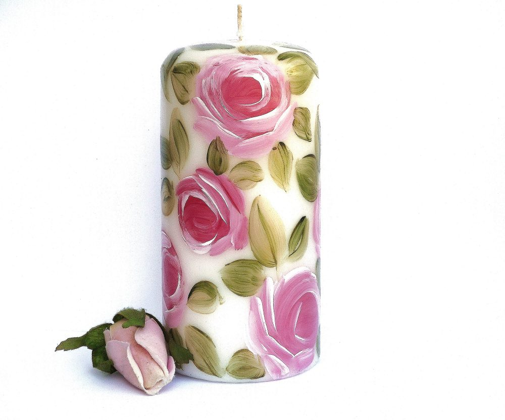 Painted Decorated Pillar Candle With Pale Pink Roses Romantic Shabby Chic Decor Free Shipping
