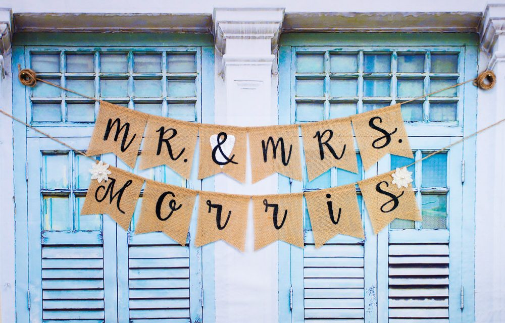 Custom Mr & Mrs Personalized Wedding Burlap Banner, Bride To Be Banner, Rustic Style Bridal Shower Banner, Photo-Prop.wedding Banner