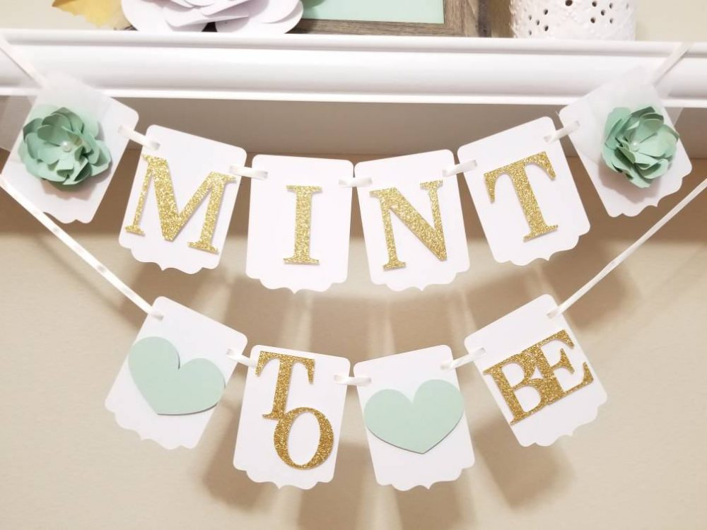 Mint To Be Banner-Mint Bridal Wedding Be-Engagement Banner-Wedding Banner-Bride To Be Flower Banner