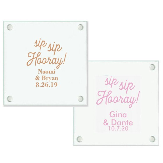 36+ Sip Hooray Personalized Coaster, Party Favor Coasters, Custom Drink Coaster Favors