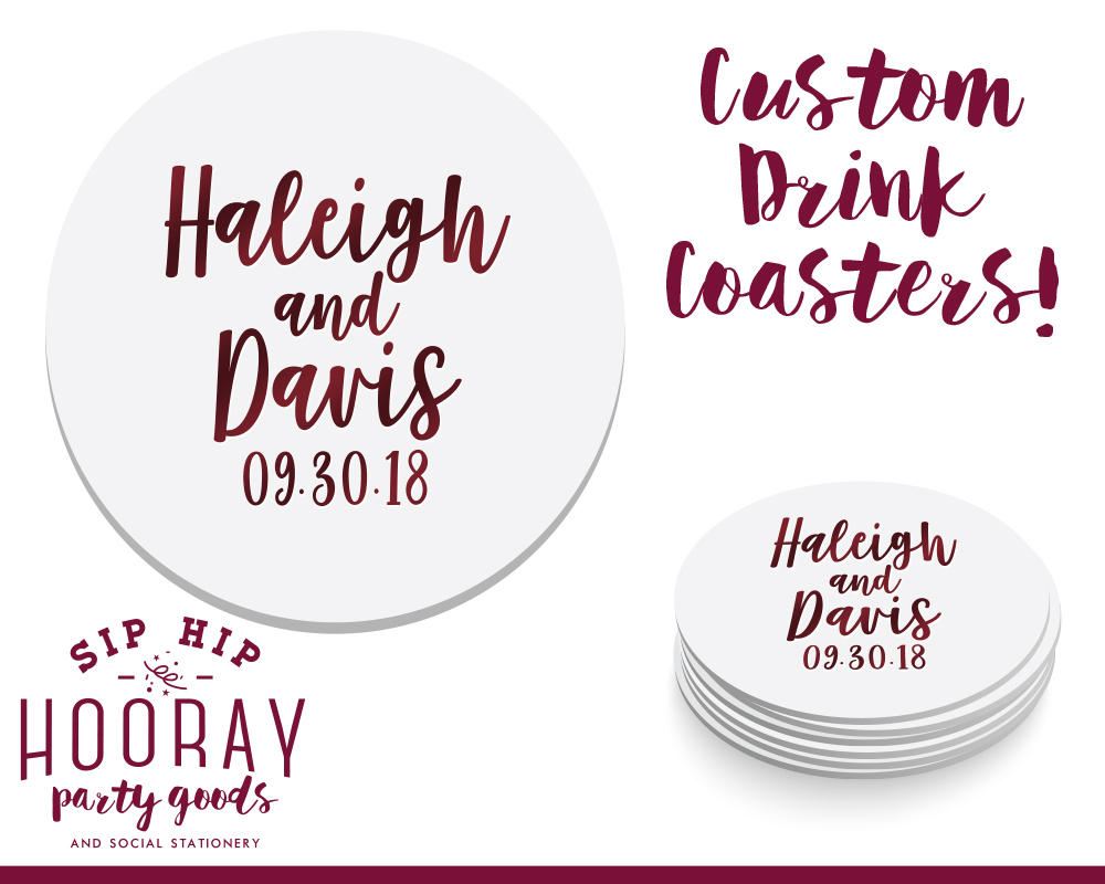 Coasters Custom, Personalized Wedding, Drink Coasters, Stock The Bar Gifts, Wedding Anniversary Gift, Monogram 1869