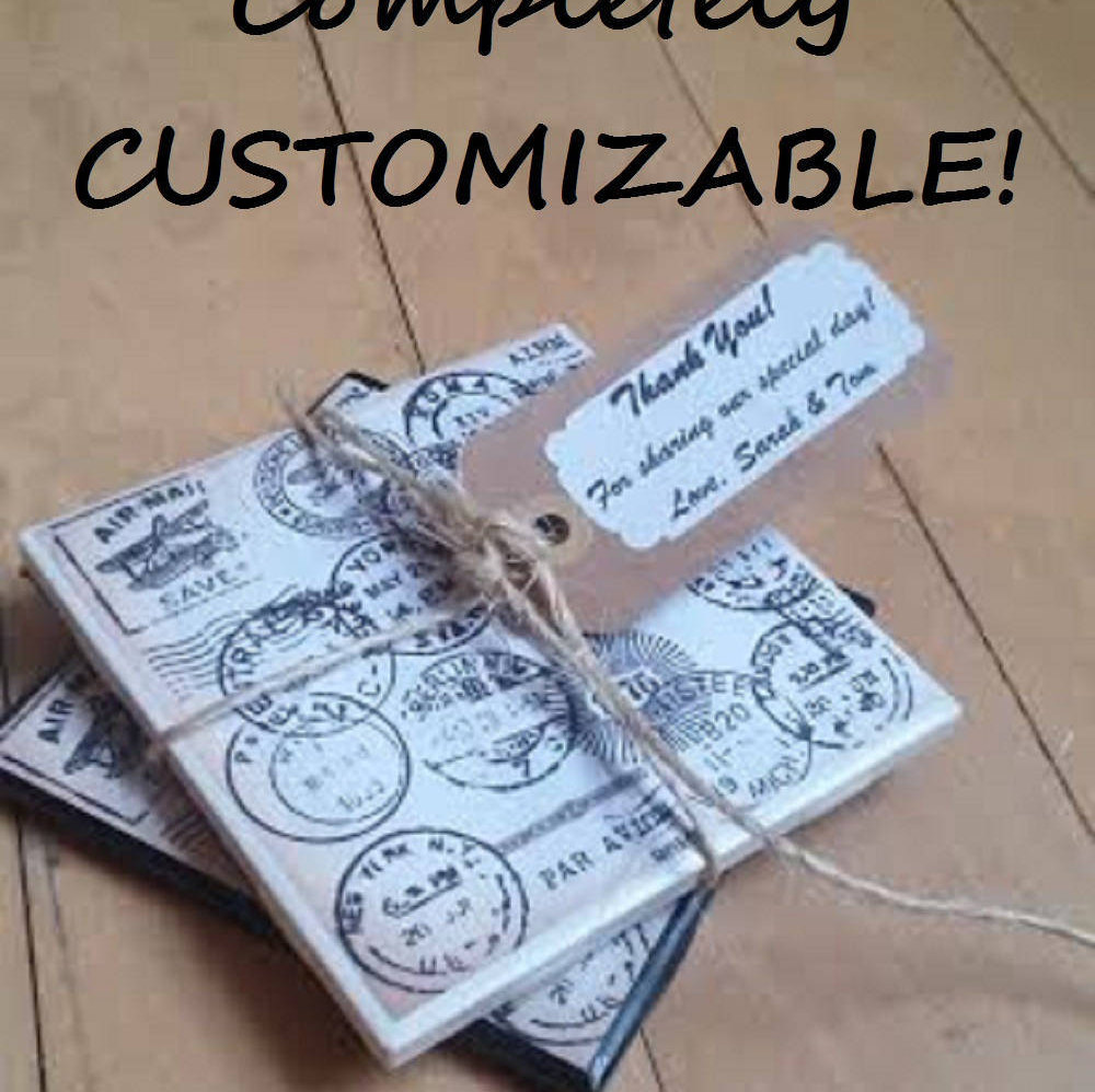 Custom Wedding Favors Coasters Personalized Passport Travel Ceramic Coaster Stone