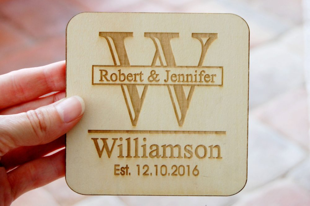 Wedding Drink Coasters, Custom Favors, Engraved Wood Personalized Guest Gift, Bridal Shower Favor