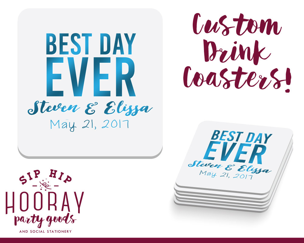 Best Day Ever Wedding Favors, Coasters, Personalized Custom Gifts, 1121