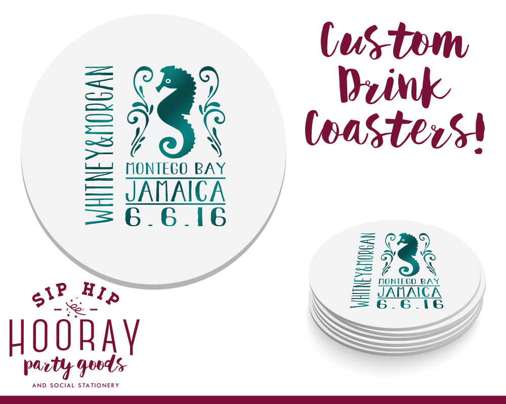 Destination Wedding Favors, Coasters, Summer Wedding, Personalized Coaster, Custom 1428
