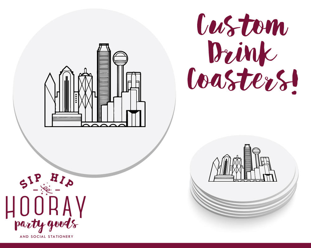 Dallas Weddings, Bar Coasters, Drink Personalized Wedding Skyline, Gifts, Custom 1860