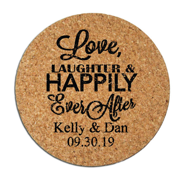 Wedding Favors Coasters Personalized Round Cork Drink Love Laughter & Happily Ever After Design