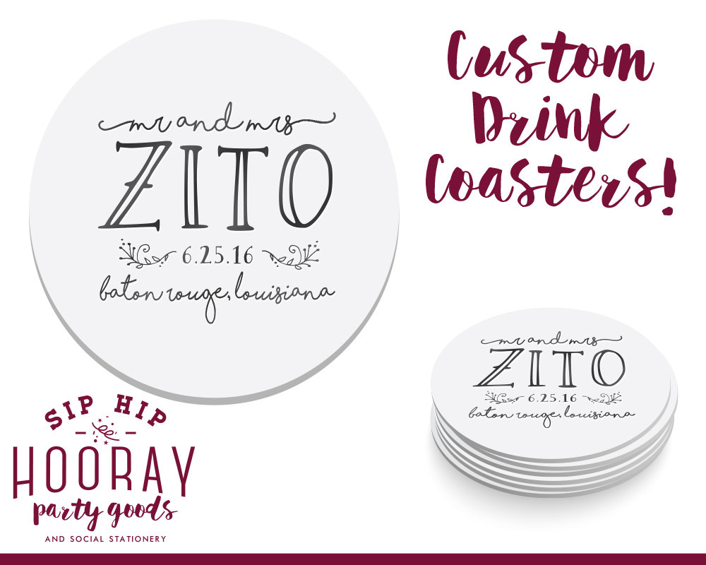 Wedding Coasters, Custom Personalized Gift, Coaster, Favor, Monogrammed Favors, 1480