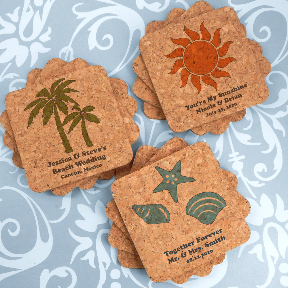 Beach Wedding Favors, Favors Coasters, Custom Square Cork Coasters - Set Of 12