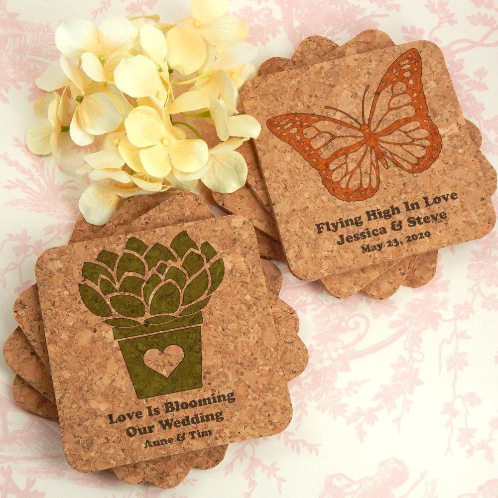 Garden Wedding Favors, Favors Coasters, Custom Cork Spring - Set Of 12