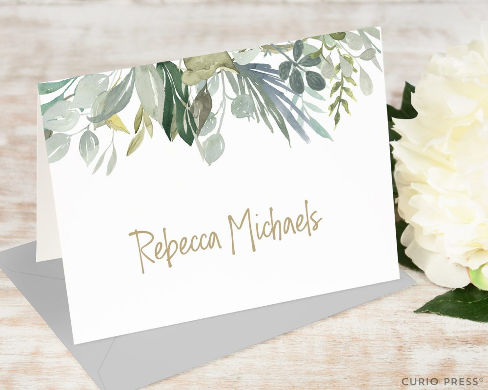 Personalized Notecard Set/Folded Pretty Leaves Cards Stationery Womens Flower Stationary // Serenity Folded
