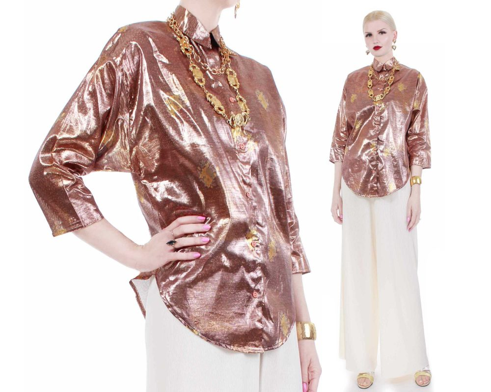 "80S Rose Gold Metallic Batwing Blouse Womens Size Medium...45"" Bust...41"" Waist"
