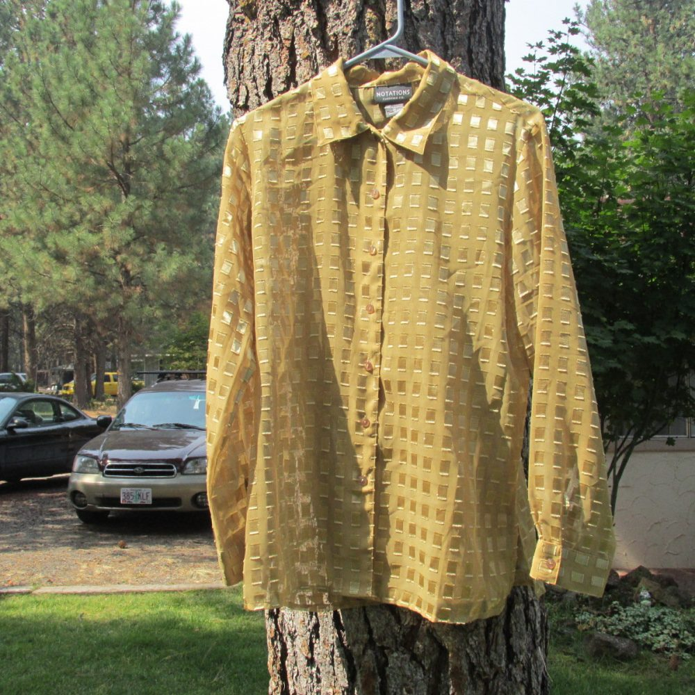 Vintage Womens Notations Gold Sheer Blouse Button Front Size Medium Metallic Squares Polyester Long Sleeve