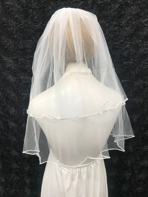 "White First Communion Veil, Two Tier Veil Edged With Corrugated Rattail Trim, 100% Nylon, Length 24""/18"""