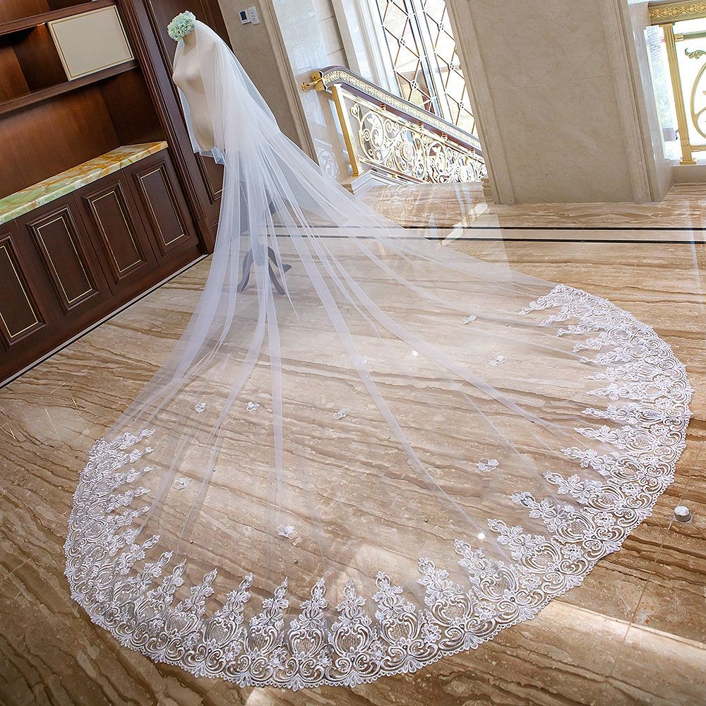 Delicate Crystals Lace Veil, Cathedral Wedding Veil, Wedding Veil, Double 2 Layer Veil, Two Tier Veil, Super Long Veil, Church Veil(Vy20